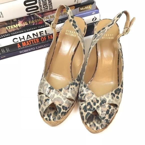 Stuart Weitzman Heels Leopard Print Wedge Sandals